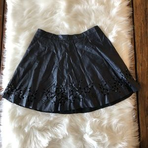 Faux Leather Laser Cut Circle Skirt Size Small